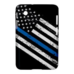 Usa Flag The Thin Blue Line I Back The Blue Usa Flag Grunge On Black Background Samsung Galaxy Tab 2 (7 ) P3100 Hardshell Case  by snek