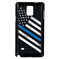 Usa Flag The Thin Blue Line I Back The Blue Usa Flag Grunge On Black Background Samsung Galaxy Note 4 Case (black) by snek