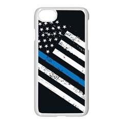 Usa Flag The Thin Blue Line I Back The Blue Usa Flag Grunge On Black Background Apple Iphone 8 Seamless Case (white) by snek