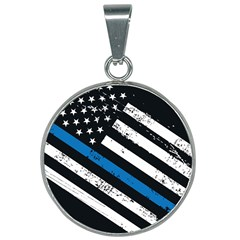 Usa Flag The Thin Blue Line I Back The Blue Usa Flag Grunge On Black Background 25mm Round Necklace by snek