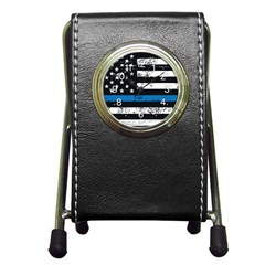 Usa Flag The Thin Blue Line I Back The Blue Usa Flag Grunge On Black Background Pen Holder Desk Clock