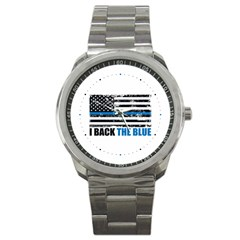 I Back The Blue The Thin Blue Line With Grunge Us Flag Sport Metal Watch
