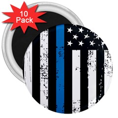 I Back The Blue The Thin Blue Line With Grunge Us Flag 3  Magnets (10 Pack)  by snek
