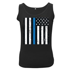 I Back The Blue The Thin Blue Line With Grunge Us Flag Women s Black Tank Top by snek
