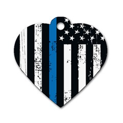 I Back The Blue The Thin Blue Line With Grunge Us Flag Dog Tag Heart (two Sides) by snek
