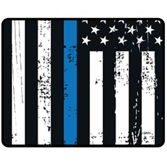 I Back The Blue The Thin Blue Line With Grunge Us Flag Fleece Blanket (medium)  by snek