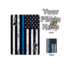 I Back The Blue The Thin Blue Line With Grunge Us Flag Playing Cards 54 (mini)