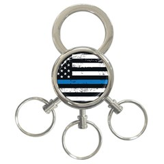 I Back The Blue The Thin Blue Line With Grunge Us Flag 3 Ring Key Chains