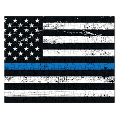I Back The Blue The Thin Blue Line With Grunge Us Flag Rectangular Jigsaw Puzzl by snek