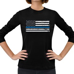 I Back The Blue The Thin Blue Line With Grunge Us Flag Women s Long Sleeve Dark T-shirt by snek
