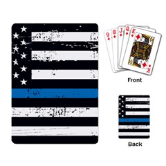 I Back The Blue The Thin Blue Line With Grunge Us Flag Playing Cards Single Design by snek