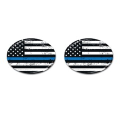 I Back The Blue The Thin Blue Line With Grunge Us Flag Cufflinks (oval) by snek