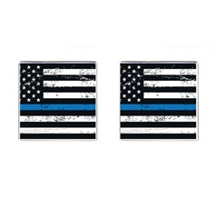 I Back The Blue The Thin Blue Line With Grunge Us Flag Cufflinks (square) by snek