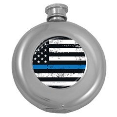 I Back The Blue The Thin Blue Line With Grunge Us Flag Round Hip Flask (5 Oz) by snek