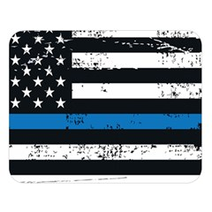 I Back The Blue The Thin Blue Line With Grunge Us Flag Double Sided Flano Blanket (large)  by snek