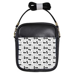 Tape Cassette 80s Retro Genx Pattern Black And White Girls Sling Bag by snek