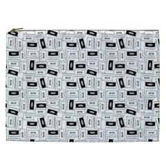 Tape Cassette 80s Retro Genx Pattern Black And White Cosmetic Bag (xxl) by snek