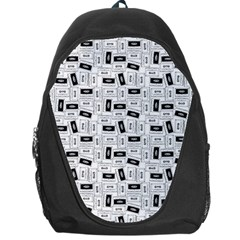 Tape Cassette 80s Retro Genx Pattern Black And White Backpack Bag