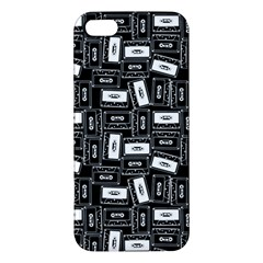 Tape Cassette 80s Retro Genx Pattern Black And White Apple Iphone 5 Premium Hardshell Case