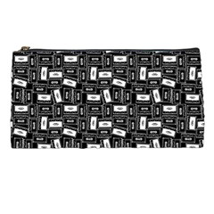 Tape Cassette 80s Retro Genx Pattern Black And White Pencil Cases by snek