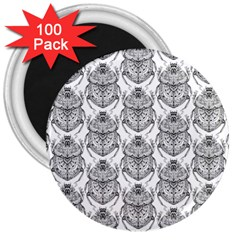 Scarab Pattern Egyptian Mythology Black And White 3  Magnets (100 Pack) by snek