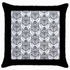 Scarab Pattern Egyptian Mythology Black And White Throw Pillow Case (black) by genx