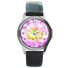 Pretty Pink, White And Yellow Cactus Dahlia Macro Round Metal Watch by myrubiogarden