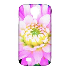 Pretty Pink, White And Yellow Cactus Dahlia Macro Samsung Galaxy S4 Classic Hardshell Case (pc+silicone) by myrubiogarden