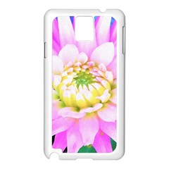 Pretty Pink, White And Yellow Cactus Dahlia Macro Samsung Galaxy Note 3 N9005 Case (white) by myrubiogarden