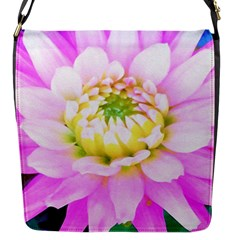Pretty Pink, White And Yellow Cactus Dahlia Macro Flap Closure Messenger Bag (s)