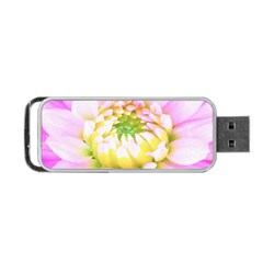 Pretty Pink, White And Yellow Cactus Dahlia Macro Portable Usb Flash (one Side)