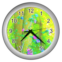Hot Pink Abstract Rose Of Sharon On Bright Yellow Wall Clock (silver)