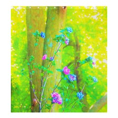 Hot Pink Abstract Rose Of Sharon On Bright Yellow Shower Curtain 66  X 72  (large)  by myrubiogarden