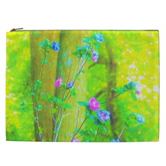 Hot Pink Abstract Rose Of Sharon On Bright Yellow Cosmetic Bag (xxl)