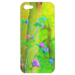 Hot Pink Abstract Rose Of Sharon On Bright Yellow Apple Iphone 5 Hardshell Case by myrubiogarden