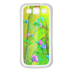 Hot Pink Abstract Rose Of Sharon On Bright Yellow Samsung Galaxy S3 Back Case (white)