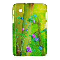 Hot Pink Abstract Rose Of Sharon On Bright Yellow Samsung Galaxy Tab 2 (7 ) P3100 Hardshell Case  by myrubiogarden