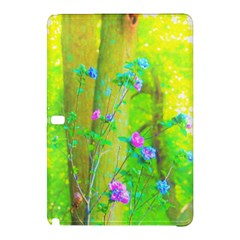 Hot Pink Abstract Rose Of Sharon On Bright Yellow Samsung Galaxy Tab Pro 12 2 Hardshell Case by myrubiogarden