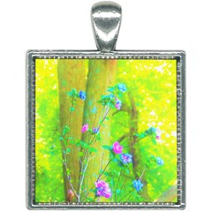 Hot Pink Abstract Rose Of Sharon On Bright Yellow Square Necklace