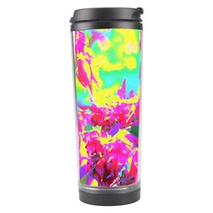 Psychedelic Succulent Sedum Turquoise And Yellow Travel Tumbler by myrubiogarden