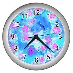Blue And Hot Pink Succulent Underwater Sedum Wall Clock (silver)