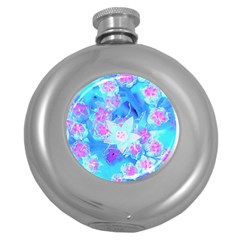 Blue And Hot Pink Succulent Underwater Sedum Round Hip Flask (5 Oz) by myrubiogarden