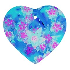 Blue And Hot Pink Succulent Underwater Sedum Heart Ornament (two Sides)