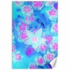Blue And Hot Pink Succulent Underwater Sedum Canvas 20  X 30  by myrubiogarden