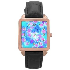 Blue And Hot Pink Succulent Underwater Sedum Rose Gold Leather Watch