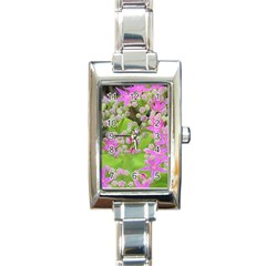 Hot Pink Succulent Sedum With Fleshy Green Leaves Rectangle Italian Charm Watch by myrubiogarden