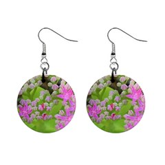 Hot Pink Succulent Sedum With Fleshy Green Leaves Mini Button Earrings by myrubiogarden