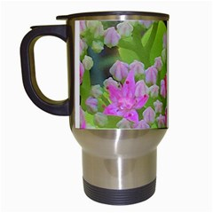 Hot Pink Succulent Sedum With Fleshy Green Leaves Travel Mugs (white) by myrubiogarden