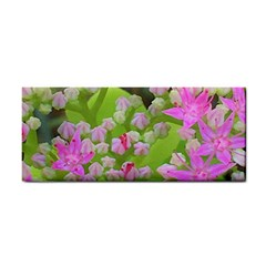Hot Pink Succulent Sedum With Fleshy Green Leaves Hand Towel by myrubiogarden