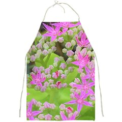 Hot Pink Succulent Sedum With Fleshy Green Leaves Full Print Aprons by myrubiogarden